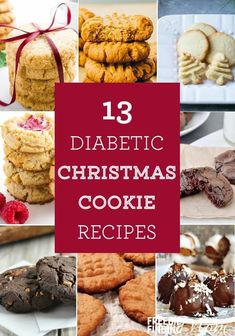 Think having diabetes means you can't enjoy Christmas cookies? Here are 13 delicious Diabetic Christmas Cookie recipes you'll love. Whether you are craving peanut butter cookies, snickerdoodle cookies or gingerbread cookies, weve got you cov Sugar Free Cookies, Sugar Free Desserts, Sugar Free Recipes, Low Carb Recipes, Diet Recipes, Recipies, Sugar Free Baking, Almond Cookies, Oatmeal Cookies