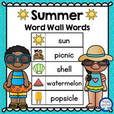 This free download includes 40 printable summer word wall words! Use them on a seasonal word wall for journal writing, word scrambles, and creative writing! Summer Words, Spring Words, Seasons Activities, Abc Activities, Summer Fun For Kids, Summer Ideas, Writing Words, Writing Help, Kindergarten Literacy