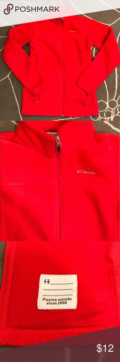 Columbia Boys' Steens Mountain Fleece Jacket - Red Columbia Boys' Steens Mountain Fleece Jacket - Red Normal wear and tear, some pilling inside and around bottom of fleece. Could be used for women's small or medium if needed. Columbia Jackets & Coats