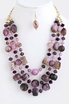 """Purple And Gold Layered Stone Jewel Necklace - Gold Collar Chain Link Drape Stone Jewel Necklace StarShine Jewelry. $19.50. Lobster claw clasp with 3"""" extender. Length approx 22"""". Lead and nickel safe. Layered stone and bead necklace"""