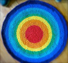 Colorful!  Rainbow Recycled TShirt Rag Rug  Crocheted by HandmadeMichelle, $75.00