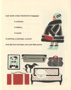 """A page from """"Baggage,"""" a beautiful facsimile translation of the classic Russian children Old Children's Books, Hat Boxes, Museum Of Modern Art, Vintage Pictures, Baggage, Editorial Design, Book Design, Childrens Books, Book Art"""