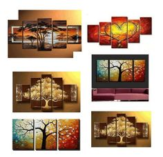 Multi Canvas Painting, Living Room Canvas Painting, Multiple Canvas Paintings, Canvas Paintings For Sale, Tree Of Life Painting, Buy Paintings Online, Large Canvas Art, Painted Canvas, Mini Canvas
