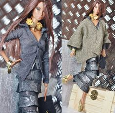 fashion royalty, fr2 dollsalive Gitane chic Night outfit, leather shoes ,bag