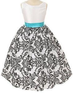 Kids Dream Toddler Girls 2T White Turquoise Flocked Flower Girl Dress