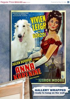 ON SALE Borzoi Vintage Movie Style Poster Canvas by NobilityDogs, $52.90