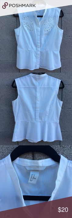 """White Peplum Top H&M size 10 White Peplum Blouse with Leaf Cutouts  Bust 18.5"""" Length 23"""" H&M Tops Blouses"""