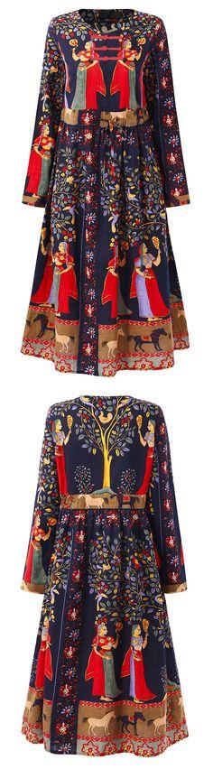US$22.70 Gracila Loose Print Folk Plate Buckle Long Sleeve Women Dresses