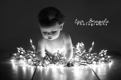 Christmas Card Photo Idea - @Amber Russell , lucy in your trunk with lights. :-)