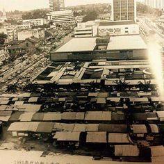 Aerial view of pasar besar (wet market) and pasar baru (shopping arcade)