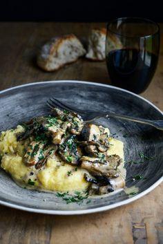 creamy mushrooms with sherry, garlic & thyme on soft polenta