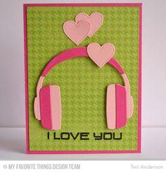 Keep on Rockin', Headphones Die-namics, Houndstooth Background, Pierced Heart STAX Die-namics - Teri Anderson #mftstamps