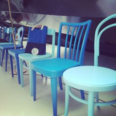 Shades of Blue @ VIENNA DESIGN WEEK Office. Blue is this year's festival color. #blue #design #festival #vienna #savethedate Shades Of Blue, Color Inspiration, Dining Chairs, Vienna, Color Blue, Colour, Design Festival, Wood, Blue Design