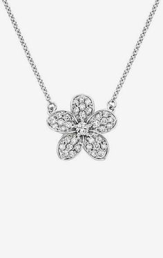 Plumeria Diamond Pendant in 18K White Gold