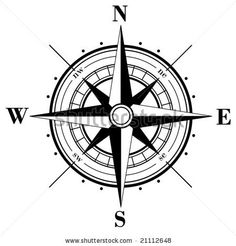 stock vector : Black compass rose isolated on whte - vector