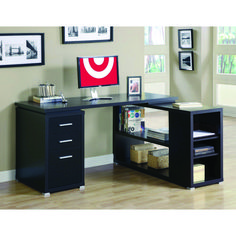 Simple Right Corner PC Desk cappuccino hollow-core left or right facing corner desk ywfvzag - Furnish Ideas Modern L Shaped Desk, L Shaped Office Desk, L Shaped Corner Desk, Modern Desk, Modern Living, Pallet Desk, Desk With File Drawer, Desk With Drawers, Ideas
