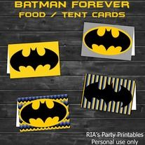 Batman Forever – BUFFET / TENT CARDS ------------------------------------------------------ WHAT'S INCLUDED WITH PURCHASE ------------------------------------------------------ PDF file with  - 1 printable sheet that can has 4 Tent Cards that can be printed as many times as you want. Just p...