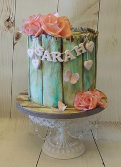 Vintage Wood & Roses - Cake by Shereen