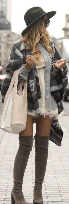 #winter #fashion / geo print + knit layers