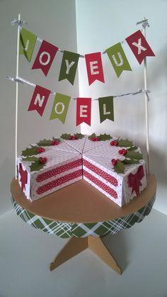 Das Projektset Süße Stückchen von Stampin'  Up! ergibt in Kombination mit dem Designerpapier Fröhliche Feiertage eine wunderschöne Torte zum Weihnachtsfest! #Weihnachten #Stampinup #DIY #Tischdekoration