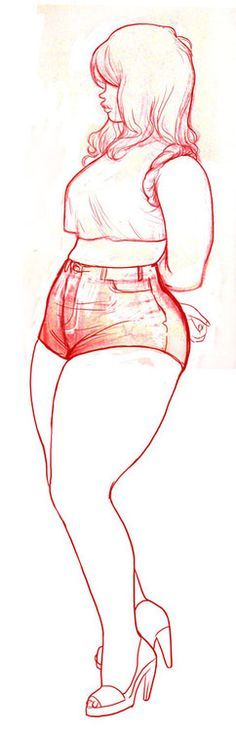 I like this drawing and being curvy ain't so bad. :)