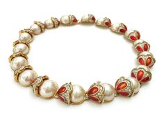 Faux Pearl Enamel Collar Necklace, Large Faux Pearls, Coral Enamel and Pave Ice Rhinestone Bead Caps, Gold Tone, Statement Necklace