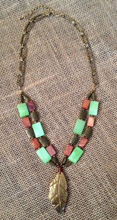 Green Rusty Orange Bronze Gold Leaf and by PeacocksandLeopards $31