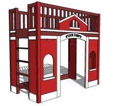 The plans for how to build Potterybarn Kids Fire Station Loft Bed