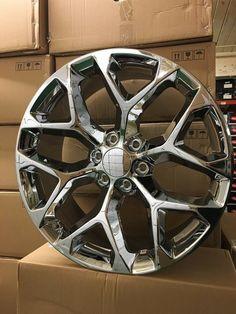 "4 2015 GMC Sierra Wheels 22x9 Chrome OE 22"" Silverado Denali Yukon Tahoe · $1,175.00 2008 Chevy Silverado 1500, Silverado Rims, Gmc Denali, Yukon Denali, 24 Rims, Honda Accord Custom, Truck Wheels, Truck Accessories, Chevy Trucks"