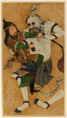 Rostam slays the White Div Safavid: Qazvin or Transoxiana, mid- to late 16th century Watercolour and gold on silk, mounted on card Private Collection, III.227
