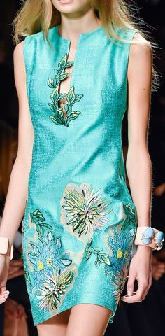 Blumarine ~ Spring Silk Mini Dress, Aqua w Floral Print