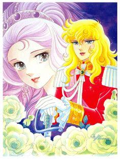 """Art of Marie Antoinette Lady Oscar from """"Rose Of Versailles"""" series by manga artist Riyoko Ikeda."""