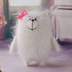 White Knitted Kitty stuffed cat softie cat hand knit animal softie cat plush toy cat amigurumi cat fuzzy toy cat Easter decor Easter gift – The Best Ideas Softies, Loom Knitting, Hand Knitting, Knitting Patterns, Knitting Toys, Knitted Cat, Knitted Animals, Handmade Soft Toys, Sock Toys