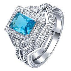 Fashion-Jewelry-925-Silver-Elegant-Aquamarine-Crystal-Gemstone-Wedding-Ring-Set
