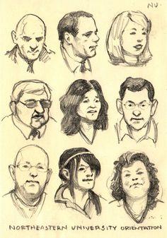 Mini portraits at a meeting.