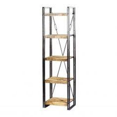 Dit is een kleine boekenkast met houten planken en een metaal frame.