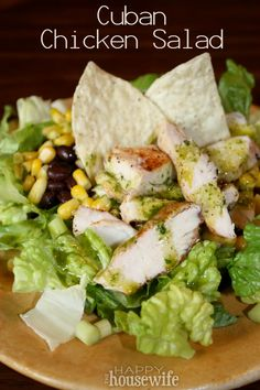 Cuban Chicken Salad ~ The combination of corn, black beans, cilantro and lime makes this salad a hit with everyone! | The Happy Housewife