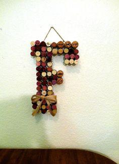 Wine Cork Letter F Wine Themed Shower Burlap by ThePopcornStitch