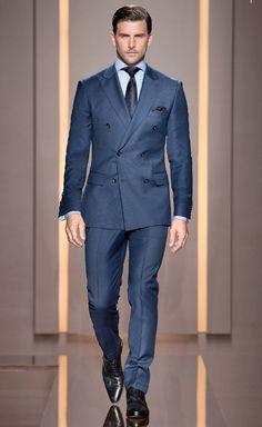dunkelblaues sakko wei es businesshemd graue anzughose braune leder oxford schuhe f r herren. Black Bedroom Furniture Sets. Home Design Ideas