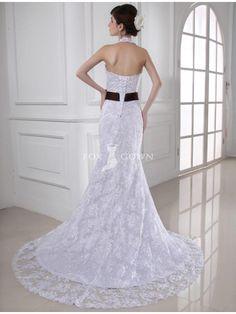 Halter Scalloped V-neck Sleeveless Mermaid Lace Applique Wedding Dress with Chocolate Bow Sash