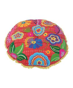 Another great find on #zulily! Red Floral Embroidered Round Cushion #zulilyfinds