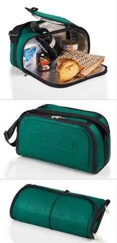 Bolsa térmica dobrável. Brinde promocional prático, compacto e fácil de ser guardado no dia a dia.