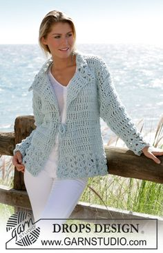 """DROPS crochet jacket in """"Ice"""" with dc-group pattern and stay in waist size S - XXL ~ DROPS Design"""