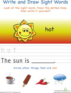 Worksheets: Write and Draw Sight Words: Hot