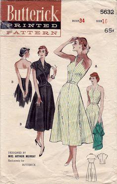 1950s Dress Pattern Butterick 5632 Fit and от FloradoraPresents