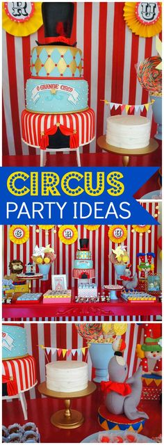 Check out this fantastic circus themed birthday party! See more party ideas at CatchMyParty.com!