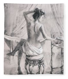 It's a time of luxury and pampering, a time of quiet and relaxation after the bath at home. A young woman performs the evening ablutions with gentle joy in After the Bath, original charcoal drawing and art print by Steve Henderson. Artist Canvas, Canvas Art, Canvas Prints, Art Prints, Life Drawing, Figure Drawing, Bath Art, Grafik Design, Art Drawings Sketches