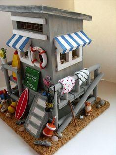 This makes me smile! Too cute! :)  Handmade Beach House Birdhouse Beach hut surfboard lobster by DabHands.