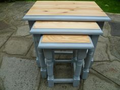 Solid Pine Nest of Tables - Annie Sloan Shabby Chic - Blue Grey