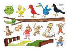 """FLANO RIM & RAMSOR: Flano: """"Fem fina fåglar"""" och """"Fem små apor hoppade i sängen"""". Sång/ramsa med rim. TIPS! Sjung sången, öva räkning, färger på fåglarna."""